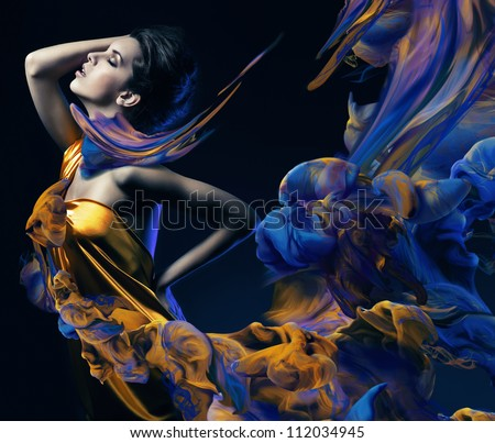 sensual woman and paint waves