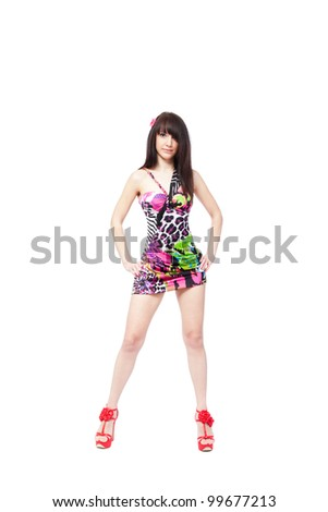 sensual woman posing in a colorful sexy dress, full length portrait girl wear pink high heel shoes isolated over white background, series photo