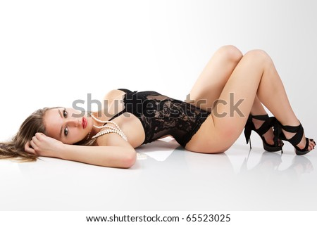 Sensual women in black lingerie.