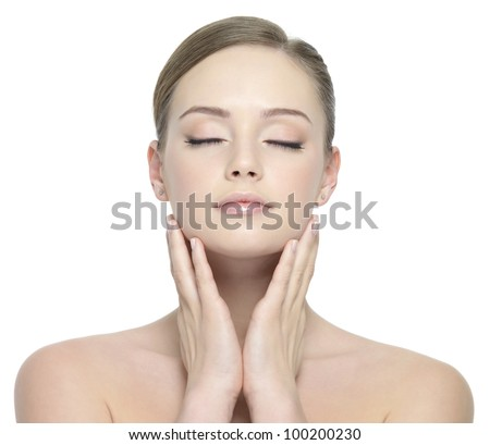 Sensuality young beautiful woman with closed eyes - white background