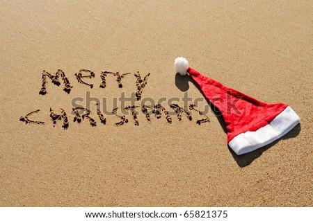 sentence merry christmas written in the sand