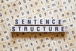Sentence structure word concept on cubes