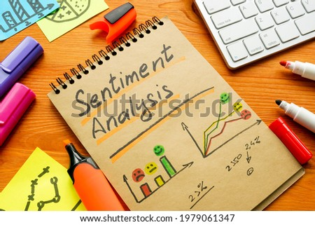 Sentiment analysis for positive and negative mentions in charts and graphs. Foto d'archivio ©