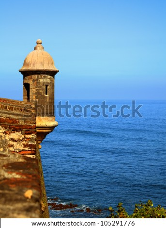 Sentry Box at Castillo San Cristobal, a historic Spanish colonial fortress in San Juan, Puerto Rico