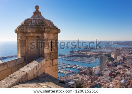 Sentry box at Santa Barbara Castle in Alicante with the view on the port and the sea at the background - Alicante, Community of Valencia, Spain, Europe