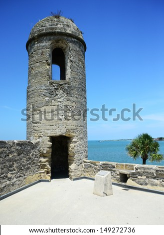 Sentry, lookout tower at Castillo de San Marcos fort in St. Augustine