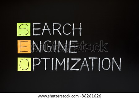 SEO acronym - SEARCH ENGINE OPTIMIZATION made with sticky notes and white chalk on a blackboard