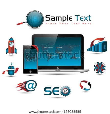 SEO collection: symbols, world map, laptop & smart phone illustration