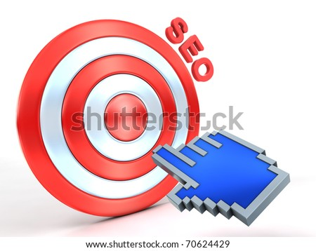 SEO concept. Hand cursor and red target.