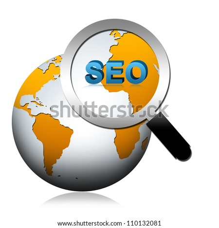 SEO Concept Present By The Globe With Magnify Glass and SEO Word Isolated on White Background