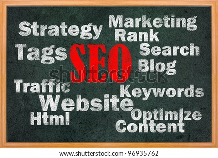 SEO concept with other related words on retro blackboard