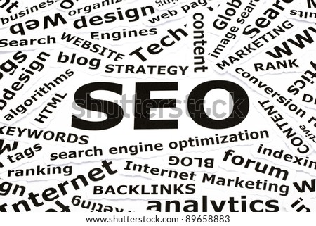 SEO concept with other related words printed on paper
