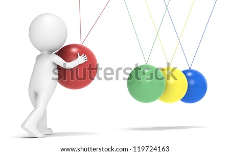SEO. 3D little human character with Newtons Cradle. Rear view. People series.