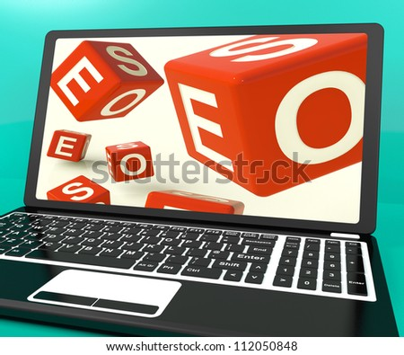 Seo Dice On Laptop Shows Online Web Optimization