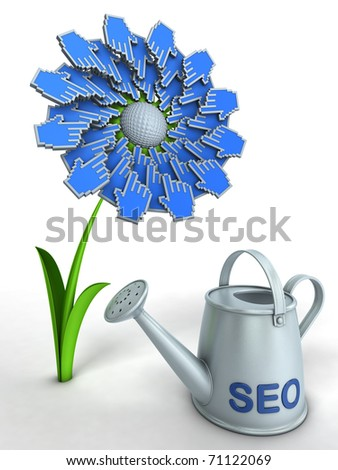 SEO flower. Watering can with title SEO and flower with hand cursors.