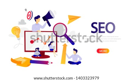 SEO horizontal flat banner for your website. Search engine optimization. Marketing strategy and website development. Optimize content, testing and maintenance. Isolated  illustration