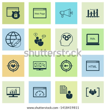 SEO icons set with keyword ranking, email marketing, comprehensive analytics and other connectivity elements. Isolated  illustration SEO icons.