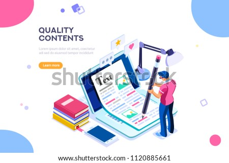 Seo infographic, content for creative blog post. Blogger character. Can use for web banner, infographics, hero images. Flat isometric character, illustration isolated on white background.