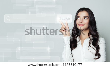 Seo, internet marketing and advertising marketing concept. Smiling business woman pointing to empty address bar in virtual web browser #1126610177