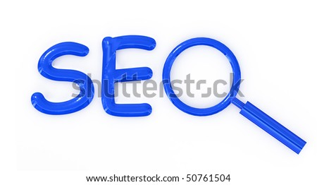 SEO letter sign with magnifier isolated on white background