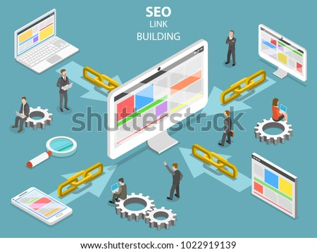SEO link building flat isometric concept. Concept of SEO and digital marketing.