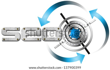 SEO Metal Target / Illustration with metal written SEO, metal target and blue arrows