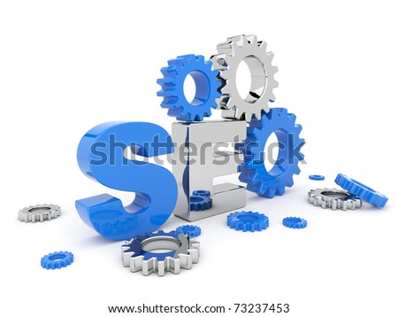SEO optimization. 3D illustration. Isolated on a white background