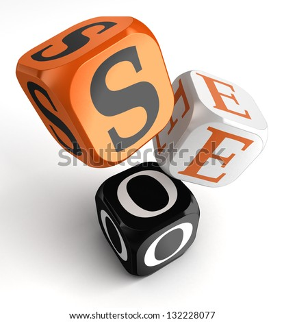 seo orange black dice blocks on white background. clipping path included