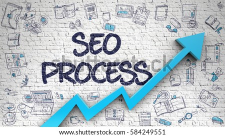 SEO Process - Modern Illustration with Doodle Elements. SEO Process Drawn on Brick Wall. Illustration with Hand Drawn Icons.