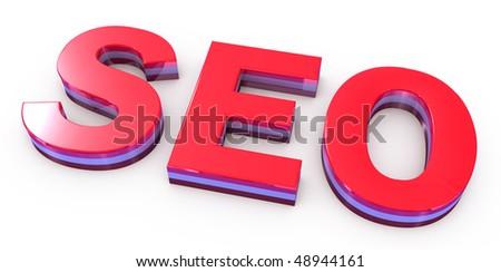 seo red letters on white background