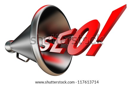 seo red wonrd and conceptual bullhorn on white background. clipping path included