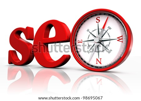 seo red word and conceptual compass on white background.clipping path included