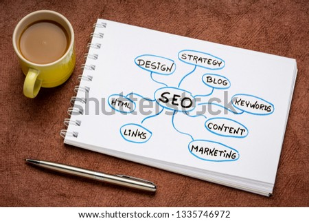 SEO - search engine optimization concept or mind map - diagram in an art sketchbook with a cup of coffee