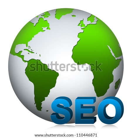 SEO( Search Engine Optimization ) Concept Present by The Globe With 3D SEO Text Isolated on White Background