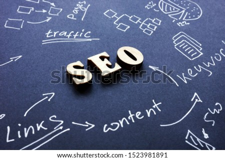 SEO Search engine optimization sign on black paper.
