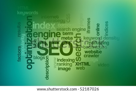 SEO Search Engine Optimization - Word Cloud - stock photo
