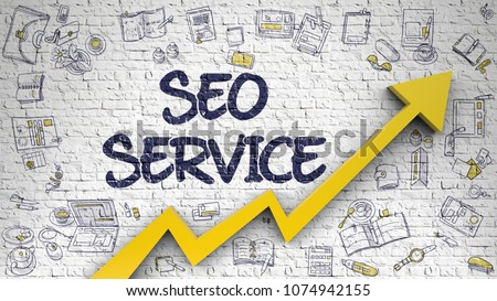 SEO Service - Development Concept. Inscription on the White Wall with Doodle Design Icons Around. SEO Service - Modern Style Illustration with Doodle Elements. 3D.