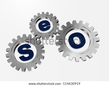 SEO text in 3d silver metal gearwheels with letters