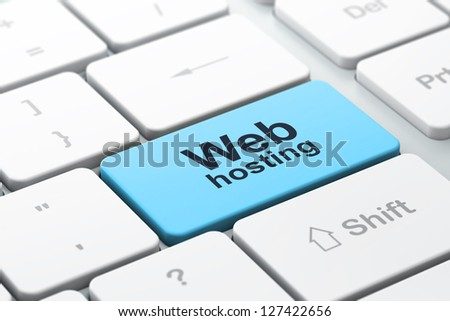 SEO web design concept: computer keyboard with word Web Hosting, selected focus on enter button, 3d render