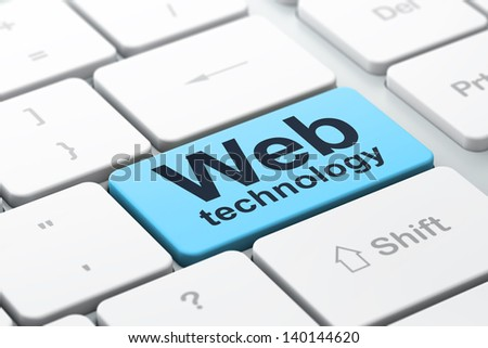 SEO web design concept: computer keyboard with word Web Technology, selected focus on enter button background, 3d render