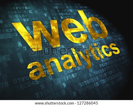 SEO web design concept: pixelated words Web Analytics on digital background, 3d render