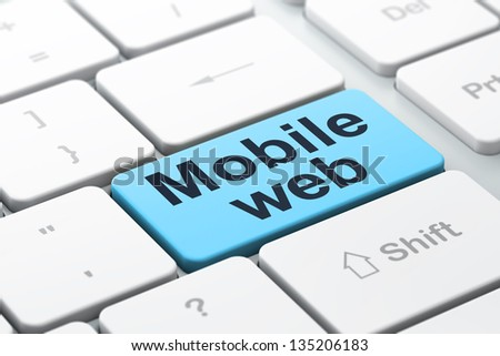 SEO web development concept: computer keyboard with word Mobile Web, selected focus on enter button background, 3d render