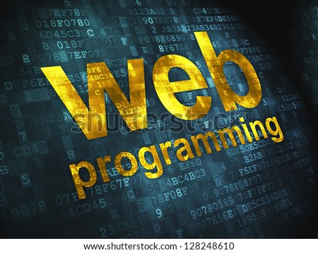 SEO web development concept: pixelated words Web Programming on digital background, 3d render