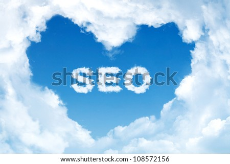 SEO. Word collage on the center of heart shape made of cloud.