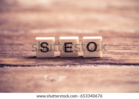 Seo word collected of wooden elements with the letters