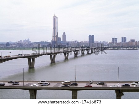 Seoul City of Korea - the front view of bridge over the Han River in Seoul