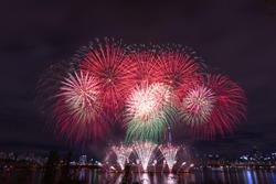 Seoul International Fireworks Festival at the Building in Seoul,South Korea