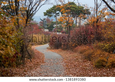SEOUL, KOREA-30 NOVEMBER 2018: Pavement of Park to sightseeing colorful leaves in Autumn season at South Korea #1381893380