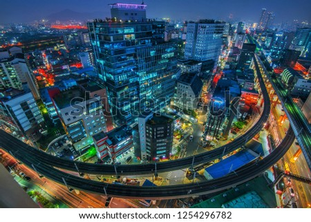 seoul night cityscape,south Korea  #1254296782