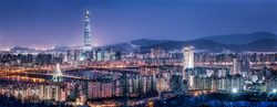 Seoul skyline panorama at night with view of Lotte World Tower